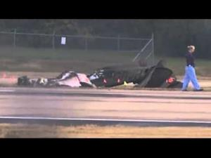 The plane crash site at Nashville International Airport.