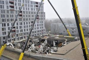 A  view of collapsed Maxima supermarket in Riga.