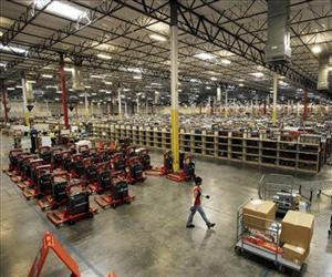 Inside an 800,000 sq. ft. Amazon.com distribution and fulfillment center warehouse, this one in Goodyear, Ariz.