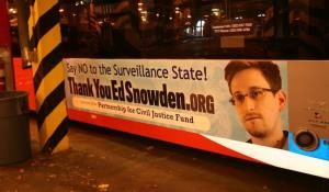 The elites in DC may not ride the bus, but they can't avoid reading the bus, says the group that funded the Snowden ads.