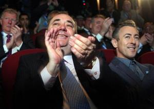 Alex Salmond, center, and Alan Cumming, right, launch the Yes campaign for Scottish Independence from a cinema in Edinburgh, Scotland, Friday May 25, 2012.