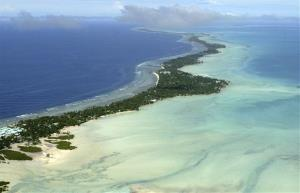 Tarawa atoll, Kiribati, seen from above.