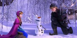 This image released by Disney shows, from left, Anna, voiced by Kristen Bell, Olaf, voiced by Josh Gad, and Kristoff, voiced by Jonathan Groff, in a scene from the animated feature Frozen.