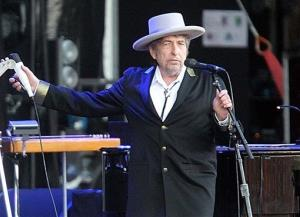 This July 22, 2012 file photo shows US singer-songwriter Bob Dylan performing on at Les Vieilles Charrues Festival in Carhaix, western France.
