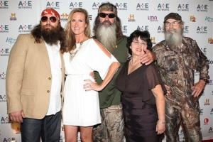 In this May 9, 2012 photo, from left, Willie Robertson, Korie Robertson, Phil Robertson, Miss Kay Robertson, and Si Robertson pose at the A&E Networks 2012 Upfront at Lincoln Center in New York.