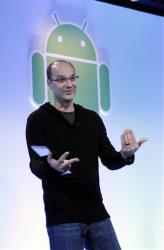 Google's Andy Rubin gestures as he talks about Android at Google headquarters in Mountain View, Calif., Wednesday, Feb. 2, 2011.