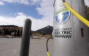 A public car-charging station off Interstate 90 in Washington state.