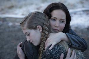 This film image released by Lionsgate shows Willow Shields, left, and Jennifer Lawrence in a scene from The Hunger Games: Catching Fire.