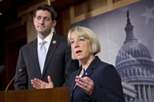 House Budget Committee Chairman Paul Ryan, R-Wis., left, and Senate Budget Committee Chairwoman Patty Murray, D-Wash., announce a tentative agreement between Republican and Democratic negotiators on a government spending plan, at the Capitol in Washington, Tuesday, Dec. 10, 2013. Negotiators reached the modest budget agreement to restore about $65 billion...
