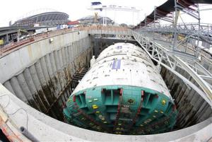 Bertha, the massive tunnel boring machine is shown ready to begin drilling, Saturday, July 20, 2013 in Seattle.