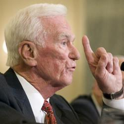 Former astronaut Gene Cernan, the last astronaut on the moon.