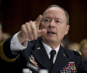 National Security Agency (NSA) Director Gen. Keith Alexander testifies on Capitol Hill in Washington, Dec. 11, 2013, before the Senate Judiciary Committee.