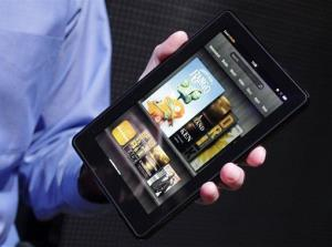 In this Sept. 28, 2011 file photo, the Kindle Fire is displayed at a news conference, in New York.