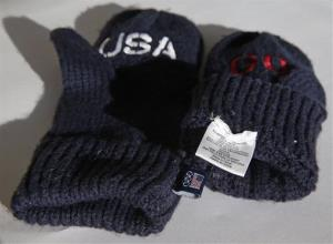 The US Olympic Committee is charging $14 a pair for the blue gloves that have the word Go embroidered in red on one mitten and USA on the other.