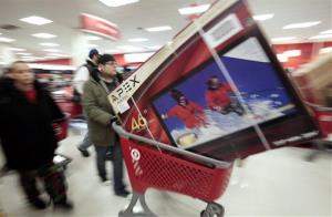 Shoppers take advantage of Black Friday sales in the early morning at a Target store in Chicago.