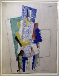 Picasso's 1914 Cubist drawing L'homme au Gibus, Man with Opera Hat, is presented at Sotheby's auction house in Paris.