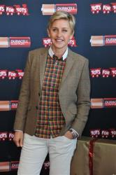 Ellen DeGeneres attends the Ellen DeGeneres officially launches the Duracell Power a Smile Program, on Friday, Nov. 22, 2013, at Van Nuys Airport in Los Angeles.
