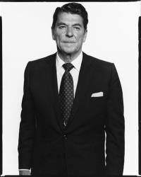 This photograph courtesy of the Richard Avedon Foundation, shows Ronald Reagan in 1976.