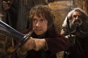 This image released by Warner Bros. Pictures shows Martin Freeman, left, and John Callen in a scene from The Hobbit: The Desolation of Smaug.