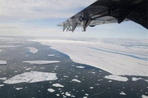 In this 2008 photo, a chunk of ice is shown drifting after it separated from the Ward Hunt Ice Shelf off the north coast of Ellesmere Island in Canada's far north.