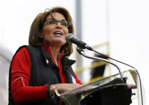 This Oct. 12, 2013 file photo shows former Alaska Gov. Sarah Palin during a rally in New Egypt, NJ.