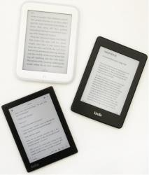 A Nook GlowLight, top, a Kindle Paperwhite, right, and a Kobo Aura.