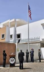 The American flag is raised in a ceremony over the U.S. embassy in Tripoli on May 13, 2009.