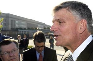 Rev. Franklin Graham speaks with reporters outside the Pentagon, Thursday, May 6, 2010.