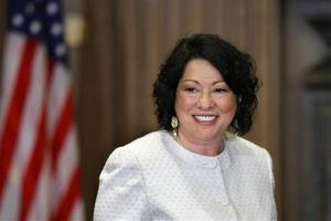 Sonia Sotomayor arrives to be sworn in as the Supreme Court's first Hispanic justice and only the third woman in the court's 220-year history, in Washington, Saturday, Aug. 8, 2009.