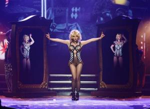 In this photo provided by Caesars Entertainment, Britney Spears debuts Britney: Piece of Me at Planet Hollywood Resort & Casino on Thursday, Dec. 26, 2013, in Las Vegas.