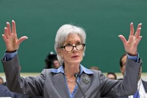 In this Oct. 30, 2013 file photo, Health and Human Services Secretary Kathleen Sebelius gestures while testifying on Capitol Hill in Washington.