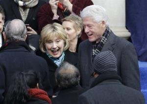 Hillary Rodham Clinton and Bill Clinton arrive before Bill de Blasio arrives to take the oath of office on the steps of City Hall, Wednesday, Jan. 1, 2014, in New York.
