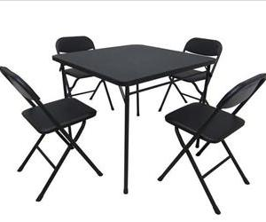 The Mainstays five-piece card table and chair set.