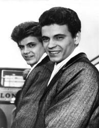 In this April 1, 1960, photo, Phil, left, and Don of the Everly Brothers arrive at London Airport.