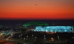 In this Thursday, Oct. 24, 2013 file photo, the Olympic park in the coastal cluster in the Black Sea resort of Sochi, Russia, is seen.