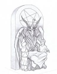 This artist's rendering shows a proposed monument that the Satanic Temple wants to place at the Oklahoma state Capitol.