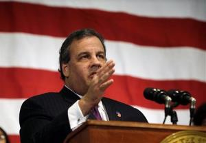 New Jersey Gov. Chris Christie addresses a gathering at Colin Powell elementary school in Union City, N.J.