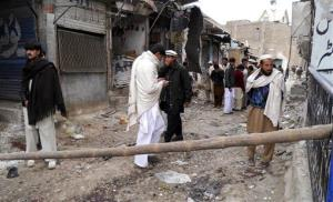 A 2013 file photo from Hangu, Pakistan, after a suicide bomber detonated his explosives outside a Shiite mosque.
