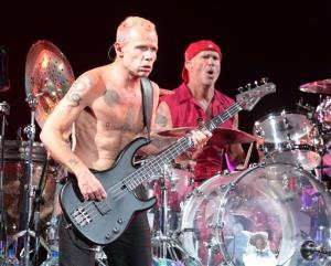 Flea and Chad Smith of the Red Hot Chili Peppers performs on Day 1 of the Firefly Music Festival at The Woodlands on Friday, June 21, 2013 in Dover, Del.