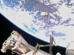 In this image provided by NASA, the Cygnus resupply spacecraft approaches the International Space Station early Sunday, Jan. 12, 2013.