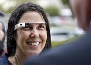 Cecilia Abadie wears her Google Glass as she talks with her attorney outside of traffic court in this file photo.