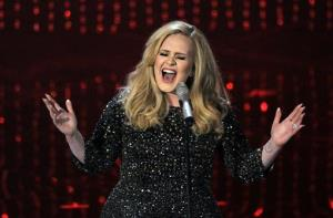 Adele performs Skyfall during the Oscars at the Dolby Theatre in Los Angeles last year.