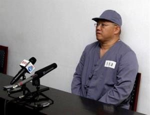 American missionary Kenneth Bae speaks to reporters at Pyongyang Friendship Hospital in Pyongyang Monday, Jan. 20, 2014.