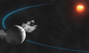 This artist's rendering shows water plumes spewing from the surface of the dwarf planet Ceres.