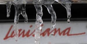 Icicles formed overnight near a Louisiana license plate in Covington, La. Friday morning, Jan. 24, 2014.