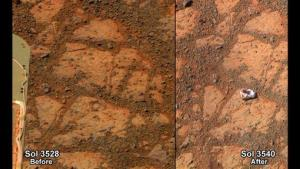 This composite image provided by NASA shows before and-after images taken by the Opportunity rover on Mars. At left is an image of a patch of ground on Mars from Dec. 26. At right is from Jan. 8, when the object is visible.