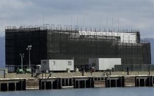 The Google barge is seen on Treasure Island in San Francisco.