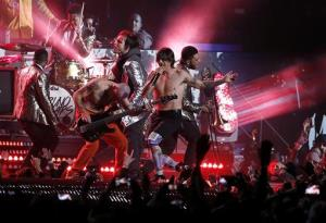 The Red Hot Chili Peppers perform during the halftime show of Super Bowl XLVIII.