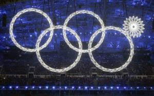 One of the rings forming the Olympic Rings fails to open during the opening ceremony of the 2014 Winter Olympics in Sochi.
