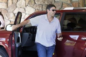 AOL Chairman and CEO Tim Armstrong arrives at the Allen & Company Sun Valley Conference in Sun Valley, Idaho, Tuesday, July 9, 2013.